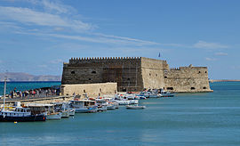 The Venetian fortress of Castello a Mare (1523–1540) guards the inner harbor of Heraklion.