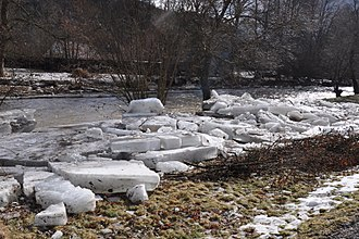 Ice jam - Ice floes/cakes left over on a river bank after an ice jam