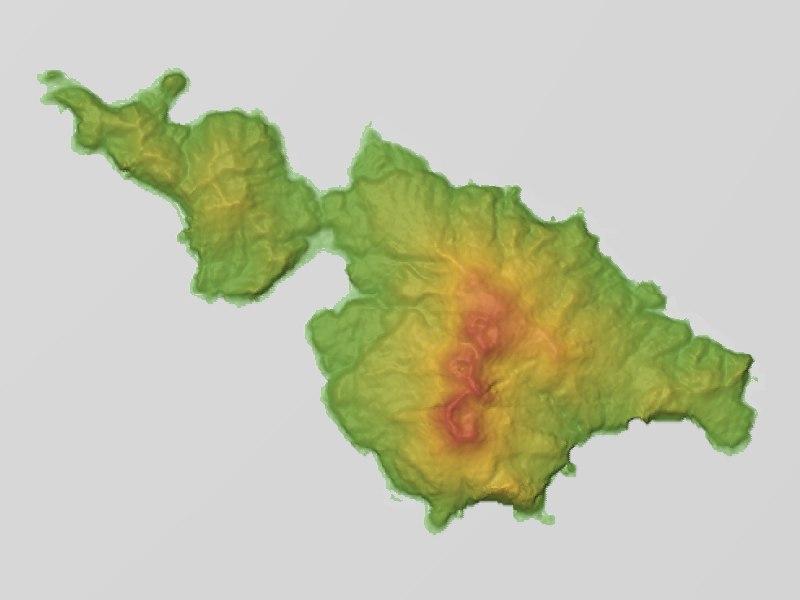 Kuchinoerabujima Relief Map, SRTM-1
