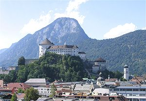 Kufstein - View to Kufstein Fortress and Brandenberg Alps