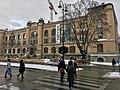 Kulturhistorisk Museum, Frederiks gate 2, Oslo, Norway. Art Nouveau, Karl August Henriksen & Henrik Bull 1902, opened 1904. Snow, pedestrian crossing, construction crane. 2017-12-14 02.jpg