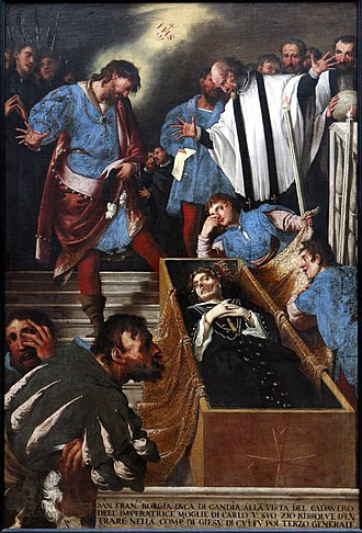 Francis Borgia, 4th Duke of Gandía - Francis Borgia at Isabella of Portugal's coffin by Pietro della Vecchia
