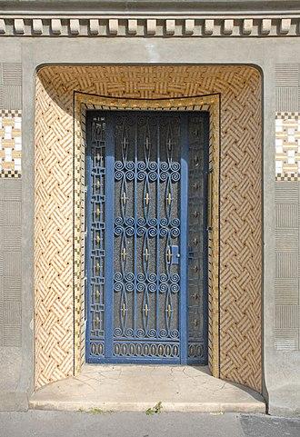 Paul Follot - Art Nouveau entrance with ceramics of Follot's house built in 1911 at 5 rue Schoelcher, Paris