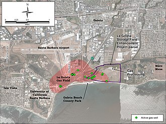 La Goleta Gas Field - Detail of La Goleta Gas Field and surrounding area, showing location of active wells.