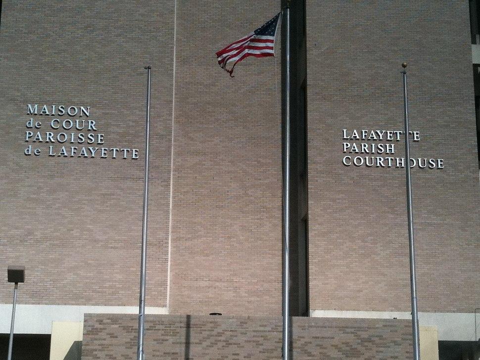 Lafayette Parish Courthouse Louisiana Bilingual Title