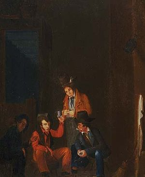 "Dominique You - ""Lafitte Brothers in Dominique Youx's Bar,"" Attributed to John Wesley Jarvis (circa 1821, Oil on wood panel)"