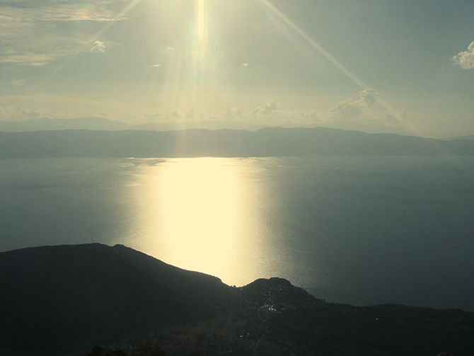 English: Lake Ohrid in Macedonia as seen from ...