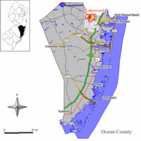 Map of Lakewood CDP in Ocean County. Inset: Location of Ocean County in New Jersey.