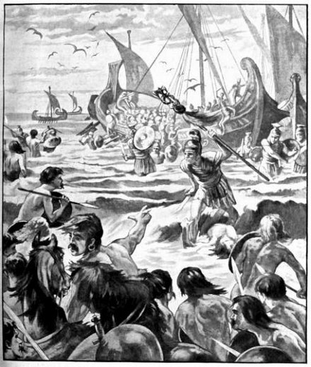 Landing of the Romans on the Coast of Kent (Cassell's History of England, Vol. I - anonymous author and artists, 1909). Landing of the Romans on the Coast of Kent.jpg