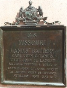 Plaque commemorating Landis's Missouri Battery at Vicksburg National Military Park