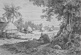 Car Nicobar - Landscape of Sawai village in 1884