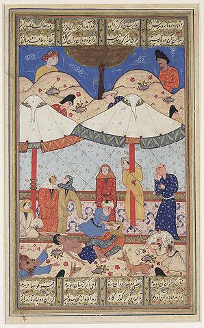 Лейли и Меджнун. Миниатюра неизвестного художника второй половины XVI века
