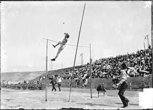 Athletics at the 1904 Summer Olympics – Men's pole vault - LeRoy Samse clearing the bar on the way to the silver medal.
