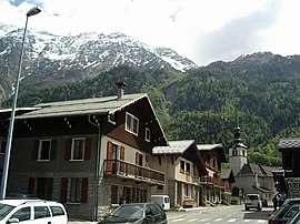 The church and surrounding buildings in Les Houches