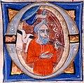 "Letter ""O"" detail, Miniatore di S Alessio in Bigiano - Leaf from Bentivoglio Bible - Walters W151407V - Reverse Detail (cropped).jpg"