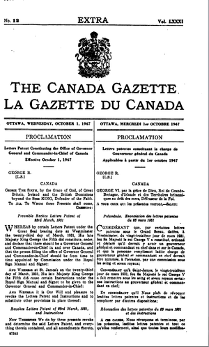 Letters Patent, 1947 - First page of the proclamation of the 1947 Letters Patent as published in the Canada Gazette