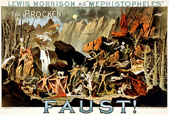 "Walpurgis Night - Lewis Morrison as ""Mephistopheles"" in Faust!: ""The Brocken"". Poster for a theatrical performance of Goethe's play showing Mephistopheles conjuring supernatural creatures on the German mountain, the Brocken (or Blocksberg), which according to the tale is the scenery for the Walpurgisnight, from 30 April to 1 May."