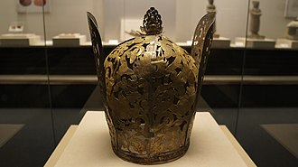 Gilt silver crown, excavated in 1986 from the tomb of Princess of Chen and her husband in Tongliao, Inner Mongolia. Liao Woman Headwear.JPG
