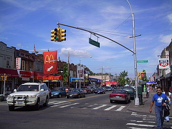 Liberty Avenue intersecting with Lefferts Boulevard in Richmond Hill.