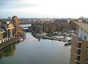 Limehouse Basin - Limehouse Basin as seen from an apartment on the edge of the Marina, with the River Thames in the background.