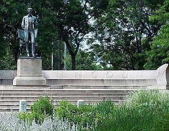Abraham Lincoln: The Man - A Stanford White designed exedra (semicircular platform with bench) frames Saint Gaudens' original statute