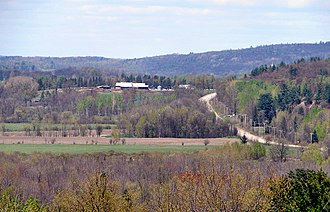 Quebec Route 148 - Route 148 as seen from the roadside rest stop in Litchfield.