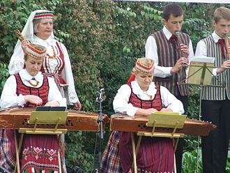 """Kanklės - Concert kanklės used by a Lithuanian traditional dance troupe """"Rasa"""" along with birbynė"""