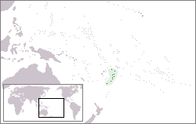 A map showing the location of Tonga