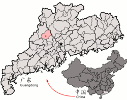 Location of the county in Zhaoqing and Guangdong