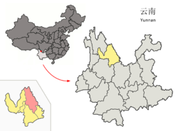 Location of Ninglang County (pink) and Lijiang City (yellow) within Yunnan