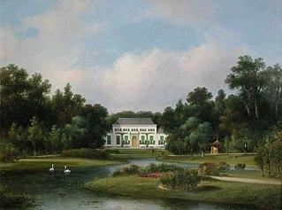 Gezicht op het buitenhuis De Heuvel in het Park met vijver waarin twee zwanen