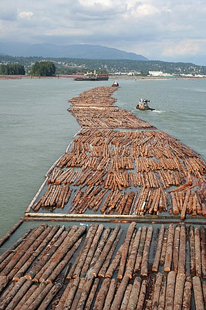 Canada–United States softwood lumber dispute - Log driving near Vancouver, B.C., Canada