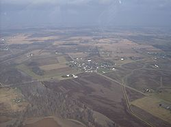 Aerial view of Logansville from the south