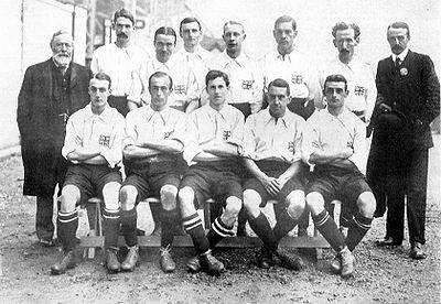 Great Britain won the Gold Medal after beating Denmark at the final London 1908 English Amateur Football National Team.jpg
