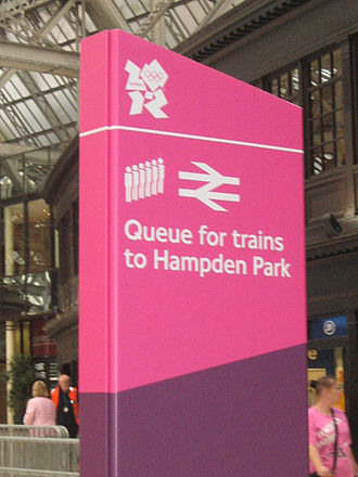 2012 Summer Olympic development - Image: London 2012 signage at Glasgow Central