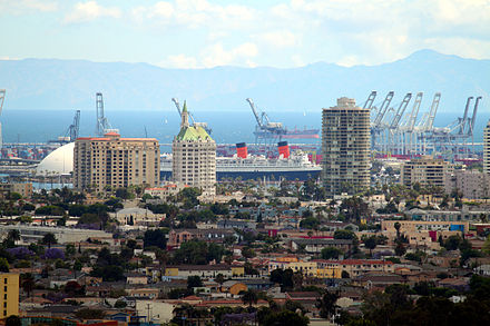 View from Signal Hill to Villa Riviera and port cranes (ca. 2009 LongBeachLongView.jpg