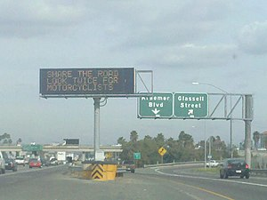 CalTrans sign on the 91 eastbound in Anaheim