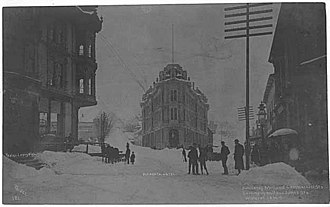 Hotel Seattle - The triangular 2nd Occidental Hotel after a snowfall in 1884