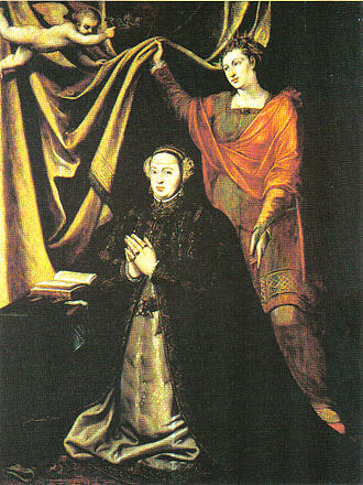 Catherine of Austria, Queen of Portugal - Altarpiece by Cristóvão Lopes in the Convent of Madre de Deus in Lisbon depicting Catherine of Austria with her namesake, St. Catherine of Alexandria.  Currently on display in the National Museum of Ancient Art in Lisbon.