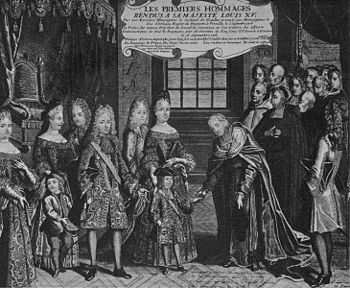The only five year old Ludwig receives the homage after his proclamation as king