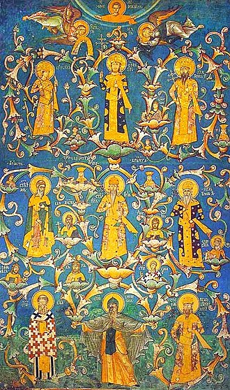 Kosovo - A medieval fresco from the Monastery of Decani in 1335.