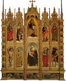Polittico di San Medardo ad Arcevia, di Luca Signorelli. San Medardo è raffigurato in abiti vescovili, secondo da sinistra, nella fila in basso