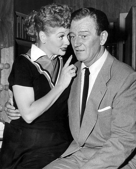 With Lucille Ball in I Love Lucy, 1955 Lucille Ball John Wayne 1955.JPG