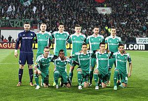 PFC Ludogorets Razgrad in European football - The Ludogorets starting XI before a Round of 32 UEFA Europa League game against Lazio in Sofia on February 27, 2014