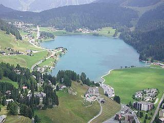Lake Davos small natural lake at Davos, Switzerland