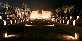 Luxor, Luxor Temple, sphinx alley at night, Egypt, Oct 2004.jpg