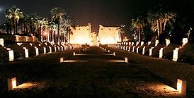 Luxor, Luxor Temple, sphinx alley at night, Egypt, Oct 2004.jpg