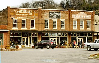 Lynchburg, Tennessee - 1913 commercial block on the courthouse square