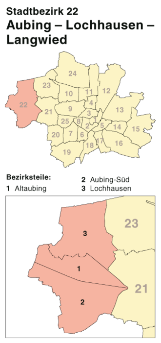 Aubing-Lochhausen-Langwied - Location of borough 22 in Munich