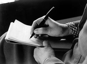 M. Klein's hands, writing. Wellcome L0018664.jpg